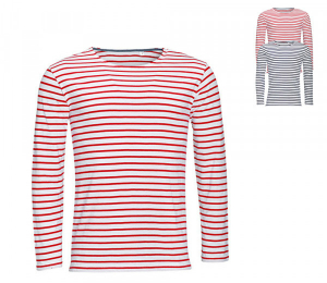 SOLS Mens Long Sleeve Striped T-Shirt Marine