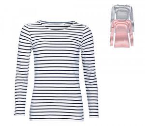 SOLS Womens Long Sleeve Striped T-Shirt Marine