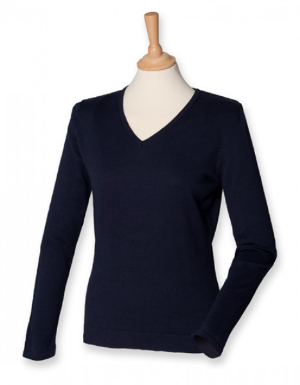 w721-henbury-ladies-lightweight-v-neck-jumper