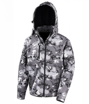Camo Charcoal TX Performance Hooded Softshell Jacket von Result