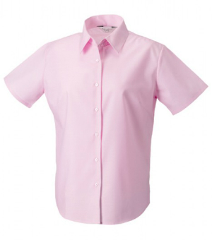 Russell Collection Kurzaermelige Oxford-Bluse