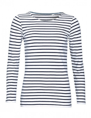 SOLS Womens Long Sleeve Striped T-Shirt Marine