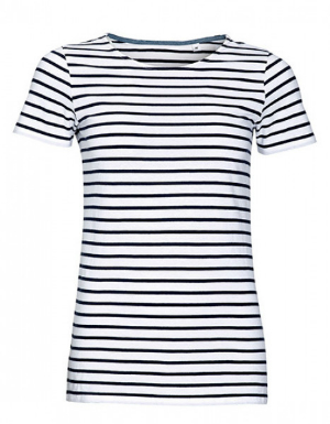SOLS Womens Round Neck Striped T-Shirt Miles