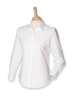 White Ladies Classic Long Sleeved Oxford Shirt von Henbury