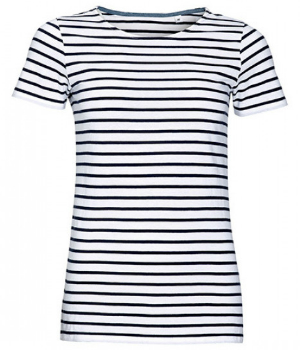 White Navy Womens Round Neck Striped T-Shirt Miles von SOLS