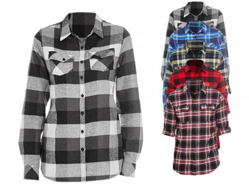 Holzfaellerhemd fuer Damen zwei Brusttaschen mit Knopfklappe aufrollbare Aermel verlaengertes Rueckenteil