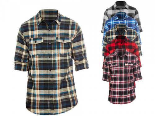 Holzfaellerhemd fuer Damen zwei Brusttaschen mit Patten Manschetten und aufrollbare Aermel