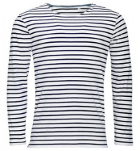 SOL´S Men's Long Sleeve Striped T-Shirt Marine