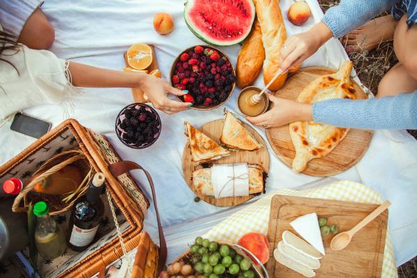 Picknick mit Obst, Kaese, Toast, Honig, Wein mit einem Weidenkorb und eine Decke