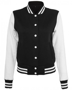 build-your-brand-ladies-sweat-college-jacket-black-white