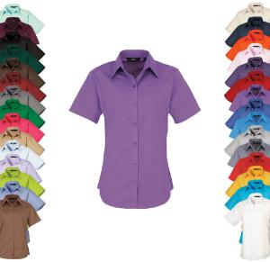 Premier Workwear Ladies Poplin Blouse Short Sleeve