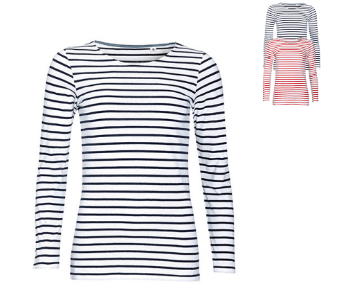 SOL´S Women's Long Sleeve Striped T-Shirt Marine