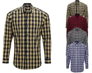 Premier Workwear Men`s Mulligan Check Cotton Long Sleeve Shirt