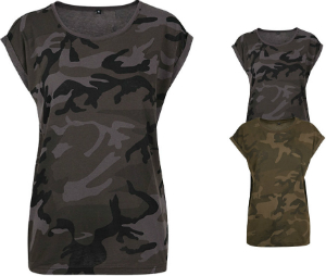 Build Your Brand Ladies Camo Extended Shoulder Camo Tee