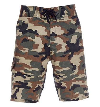 Burnside Stretch Board Shorts Green Camo militaeroptik