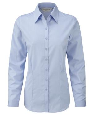 russell-collection-herringbone-bluse-langarm-light-blue