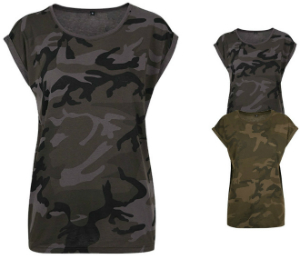BY112 Build Your Brand Ladies Camo Extended Shoulder Camo Tee