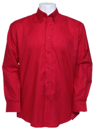 Rotes Damenhemd, langärmlig, Oxford Stil