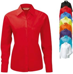Rotes Damen Hemd, Popeline, langärmlig