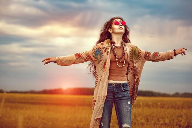 Frau im Hippy Style
