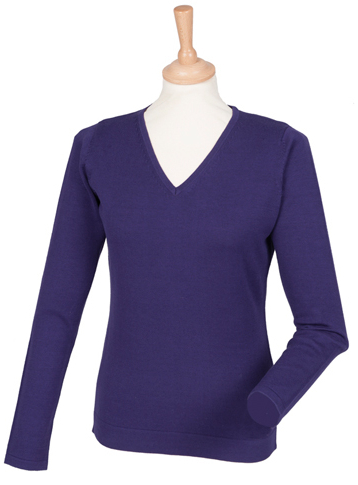 W721 Henbury Ladies Lightweight V Neck Jumper