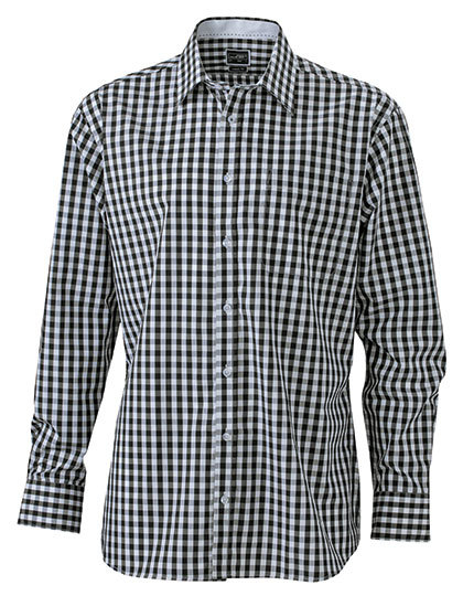 JN617 James+Nicholson Men`s Checked Shirt - Lockere Karo-Mode für Damen und Herren