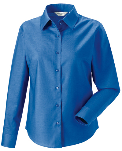 Z932F Russell Collection Langärmelige Oxford-Bluse
