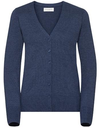russell-collection-damen-strick-cardigan-mit-v-ausschnitt