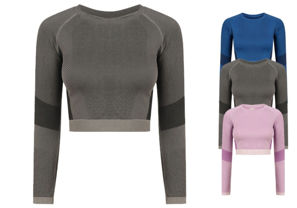 tombo-ladies-seamless-panelled-long-sleeve-crop-top