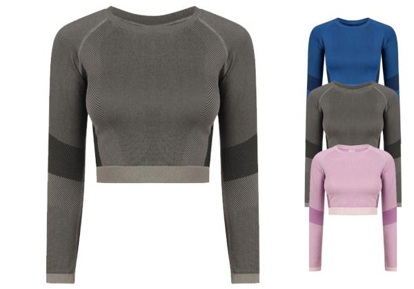 tombo-ladies-seamless-panelled-long-sleeve-crop-top