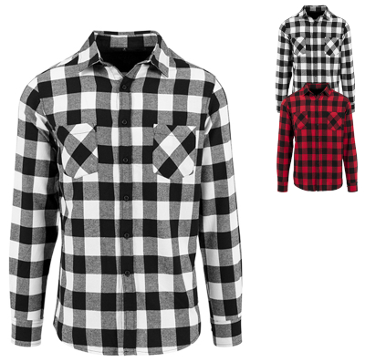BY031 Build Your Brand Checked Flannel Shirt