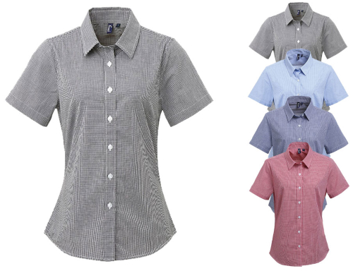 PW321 Premier Workwear Ladies Microcheck (Gingham) Short Sleeve Shirt Cotton