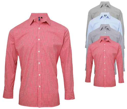 PW220 Premier Workwear Mens Microcheck (Gingham, Vichy-Karos)