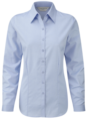 Z962F Russell Collection Herringbone Bluse Langarm