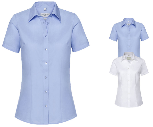 Z973F Russell Collection Ladies` Short Sleeve Tailored Coolmax® Shirt