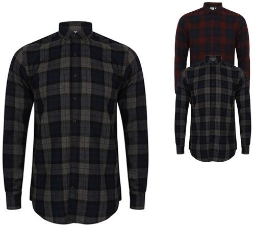 SFM560 SF Men Men`s Brushed Check Casual Shirt