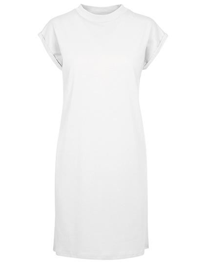 Build Your Brand Ladies Turtle Extended Shoulder Dress das-weiße-kleid