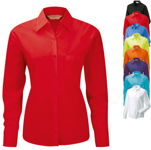Z934F Russell Collection Langarm Popeline-Bluse - verspielte Mode