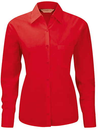 Z934F Russell Collection Langarm Popeline-Bluse