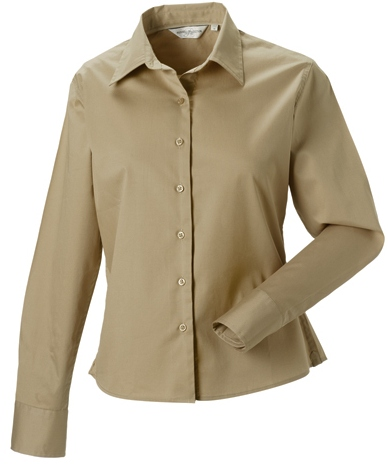 Z916F Russell Collection Langärmelige Twill-Bluse