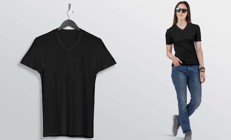 Frau mit V-Ausschnitt T-Shirt