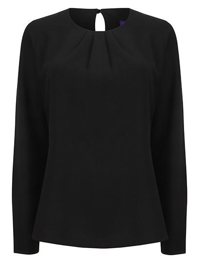W598 Henbury Ladies Pleat Front Long Sleeved Blouse