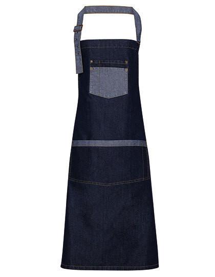 PW127 Premier Workwear Domain Contrast Denim Bib Apron