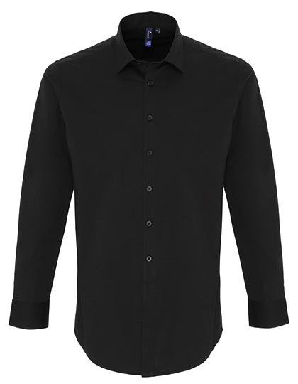 PW244 Premier Workwear Mens Stretch Fit Poplin Long Sleeve Cotton Shirt
