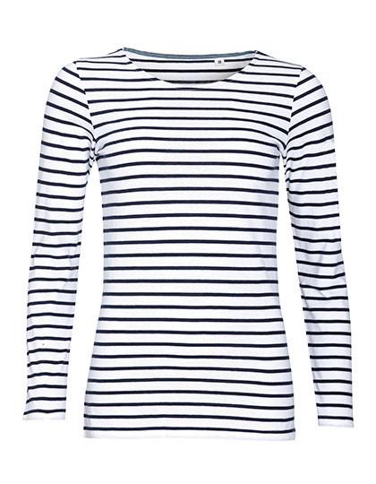 L01403 SOL´S Women's Long Sleeve Striped T-Shirt Marine