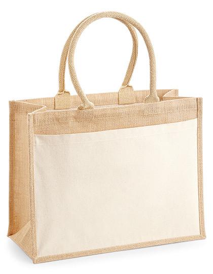 WM427 Westford Mill Cotton Pocket Jute Shopper