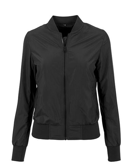 BY044 Build Your Brand Ladies Nylon Bomber Jacket