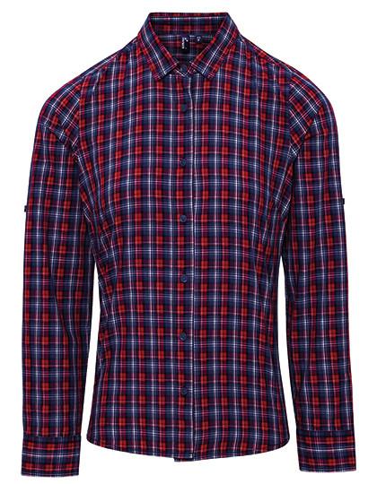 PW356 Premier Workwear Sidehill Check Womens Long Sleeve Cotton Shirt