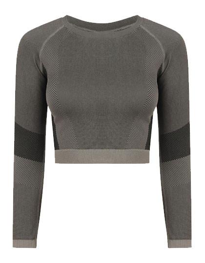 TL352 Tombo Ladies Seamless Panelled Long Sleeve Crop Top
