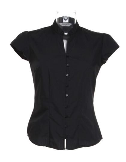 K727 Kustom Kit Poplin Contintental Blouse Mandarin Collar Cap Sleeve